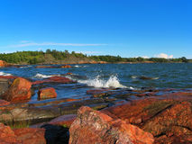 Baltic sea. Summer scenery of the Baltic sea coast in Helsinki, Finland royalty free stock images
