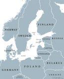 Baltic Sea area countries political map Stock Photos
