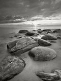 Baltic Sea Beach. Rocks on the Baltic Sea beach in Latvia in black and white Royalty Free Stock Images