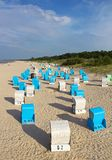 Baltic sea beach in Ahlbeck, Germany. Beach in Ahlbeck with typical Baltic sea beach chairs Strandkorbs, Germany Stock Photography