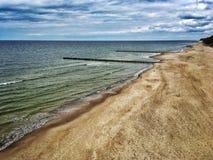 Baltic Sea beach. In Rewal village in Poland stock image