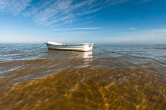 Baltic Sea beach with boats Royalty Free Stock Photo
