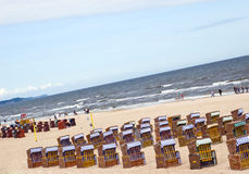 Baltic sea beach chair. Beautiful beach in Polish city Swinoujscie Baltic sea Stock Photo