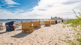 Baltic Sea beach with beach chairs Stock Image