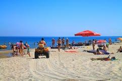 Baltic sea beach at Kulikovo on a hot July day. KULIKOVO, RUSSIA — JULY 19, 2014: Baltic sea beach at Kulikovo on a hot July day Royalty Free Stock Photo