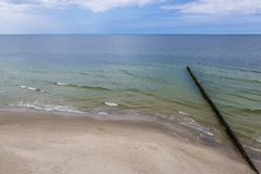 Baltic Sea beach. In Rewal village in Poland royalty free stock photo