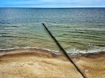 Baltic Sea beach. In Rewal village in Poland stock photography