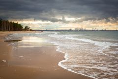 Baltic Sea beach in stormy weather Royalty Free Stock Photos