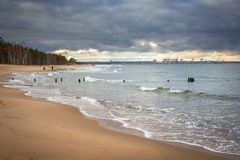 Baltic Sea beach in stormy weather Stock Photo