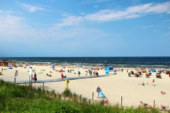 Baltic sea beach in Swinoujscie, Poland. SWINOUJSCIE, POLAND - JULY 7, 2014: Popular Baltic sea beach on Usedom island in Poland Royalty Free Stock Images