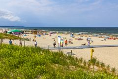 Baltic sea beach on Usedom island in Swinoujscie, Poland stock photo