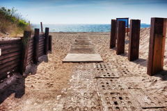 Baltic Sea Beach Walkway on Hel Peninsula Stock Photos
