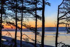 Baltic sea at beautiful sunrise in Latvia beach. Panoramic nature background Stock Image