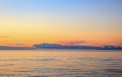 Baltic sea at beautiful sunrise in Latvia beach. Panoramic nature background Stock Photography