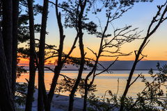 Baltic sea at beautiful sunrise in Latvia beach. Panoramic nature background Stock Photo