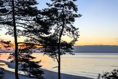 Baltic sea at beautiful sunrise in Latvia beach. Panoramic nature background Royalty Free Stock Photo