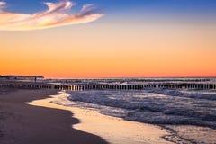 Baltic sea at beautiful sunrise in Poland beach. Baltic sea at beautiful sunrise in Poland beach stock photography