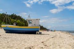Baltic sea, boat on beach Royalty Free Stock Image