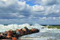 Baltic Sea and breakwater Stock Photos