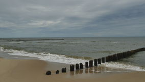 Baltic Sea and the breakwater stock video