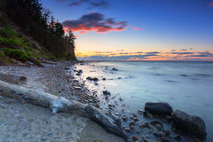 Baltic sea and Cliff of Orlowo at sunrise Stock Photos