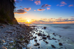 Baltic sea and Cliff of Orlowo at sunrise. Poland Stock Photography