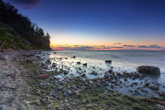 Baltic sea and Cliff of Orlowo at sunrise Royalty Free Stock Photography