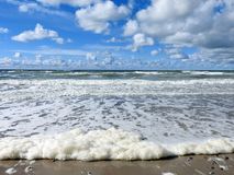 Baltic sea coast and beautiful clouds, Lithuania royalty free stock image