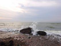 Baltic sea coast, beautiful clouds and stones, Lithuania stock photo