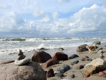 Baltic sea coast and beautiful cloudy sky, Lithuania Stock Photography