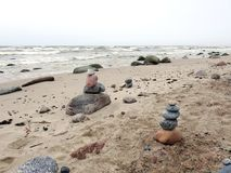 Baltic sea coast and beautiful  stones , Lithuania Royalty Free Stock Images