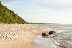 Baltic sea coast. In the early spring stock photos