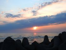 Baltic sea coast in evening, Lithuania royalty free stock image