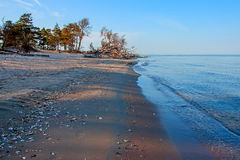 Baltic Sea coast. Kolka. Cape Kolka where two sea meet in the middle Royalty Free Stock Images