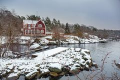 Baltic sea coast near Karlshamn in winter. Sweden Stock Photography