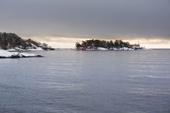 Baltic sea coast near Karlshamn in winter. Sweden Royalty Free Stock Photos