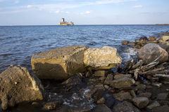 Baltic sea coastline with old ruins Royalty Free Stock Image