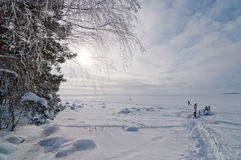 Baltic Sea in February. People in Helsinki go out for walk and skiing on top of frozen Baltic Sea royalty free stock photo