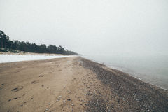 Baltic Sea and foggy morning- vintage effect Royalty Free Stock Photos