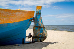 Baltic sea, fragment of boat on beach Stock Images