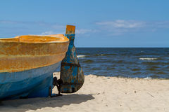 Baltic sea, fragment of boat on beach Stock Image