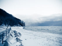 Baltic sea Gdynia, cliff in Orlowo Poland. Winter scenery Stock Photography
