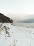 Baltic sea Gdynia, cliff in Orlowo Poland. Winter scenery Royalty Free Stock Photography