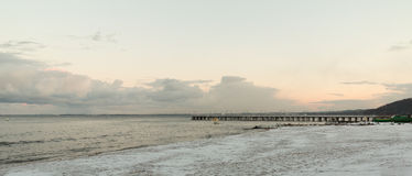 Baltic sea Gdynia, pier in Orlowo Poland. Winter scenery Royalty Free Stock Photo