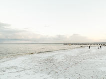 Baltic sea Gdynia, pier in Orlowo Poland. Winter scenery Stock Image