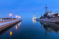 Baltic Sea harbor in Gdynia at night Royalty Free Stock Image