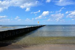 Baltic Sea. IBaltic Sea. Gulls on the breakwater Stock Photography