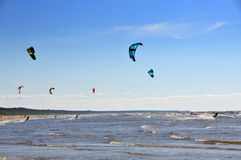 Baltic Sea, Jurmala, Latvia. Jurmala (Latvia). Surfing with a parachute stock image