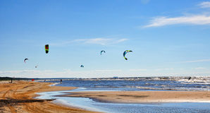 Baltic Sea, Jurmala, Latvia. Jurmala (Latvia). Surfing with a parachute royalty free stock photography