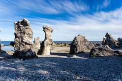 Baltic sea, Langhammars, Faro, Gotland, Sweden. On the islands of Faro and Gotland, rock formations called Rauk can be found. These were a result of erosion stock photos